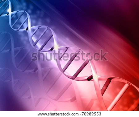 3D render of DNA strands on an abstract background - stock photo
