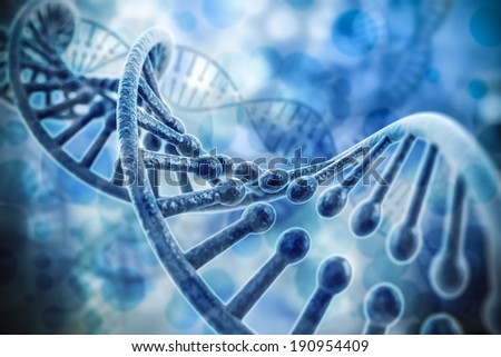 3d render of dna structure, abstract  background - stock photo