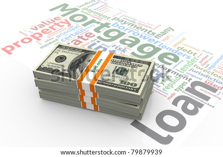 3d render of dollar pack on the background of 'mortgage' wordlcloud - stock photo