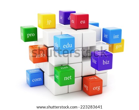 3d render of domain boxes isolated on white background. Global communication concept  - stock photo