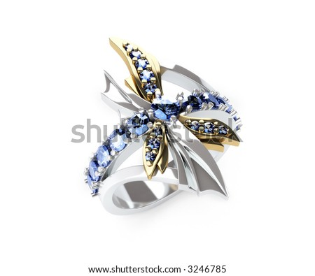 3d render of dragonfly ring of white and yellow gold and blue sapphires - stock photo
