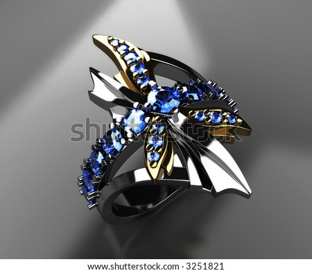 3d render of dragonfly ring of white and yellow gold and blue sapphires on black - stock photo