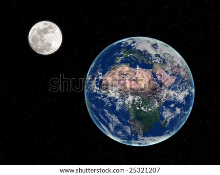 3d render of earth and moon