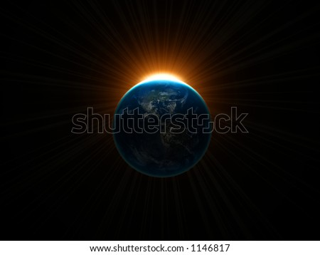 3D render of earth and sun rays - stock photo