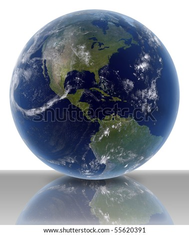 3D render of earth on white background with ground reflection.
