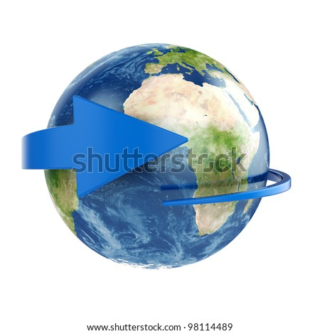 3d render of Earth with blue arrow around. Elements of this image furnished by NASA - stock photo