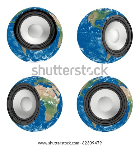 3d render of Earth with mounted musical speake - stock photo