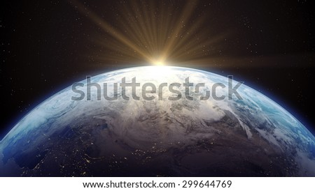 3 D render of Earth with Sun rising. Source: NASA Public Domain images Only small portion of map is visible.  - stock photo