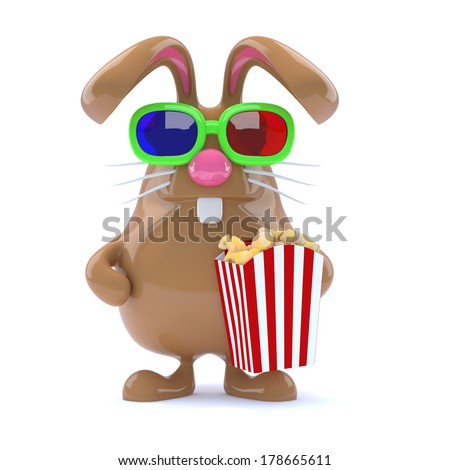 3d render of Easter Bunny holding some popcorn. - stock photo