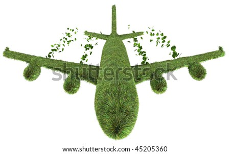 3D render of ecological air travel concept isolated on white - stock photo