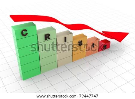 3d render of economy crisis concept - stock photo