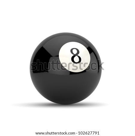 3d render of eight ball isolated on white background - stock photo