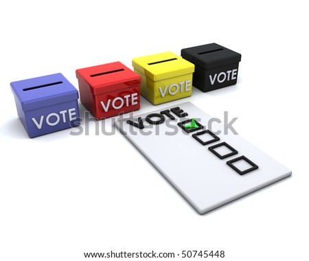 3D render of election day ballot boxes - stock photo