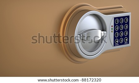 3d render of  electronic coded lock on a plane - stock photo