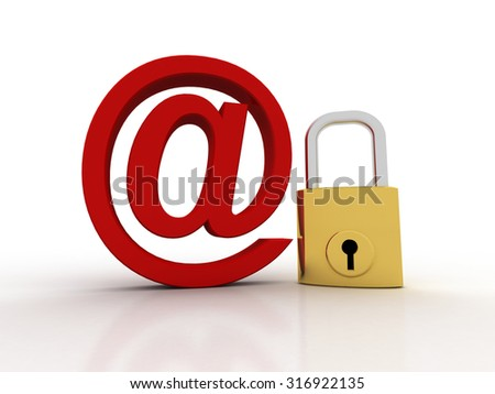 3d render of email symbol with lock