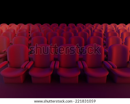 3d render of empty cinema seats in the darkness