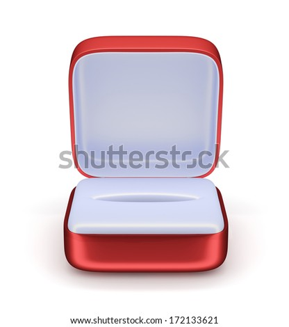 3d render of empty gift jewelry box. Isolated on white background - stock photo