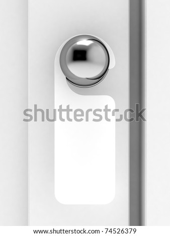 3d render of empty label on a door handle for your text - stock photo
