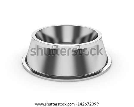3d render of empty pets bowl isolated on white background