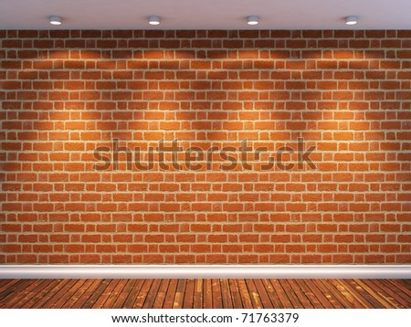 3d render of empty room with brick wall and four spot lights - stock photo