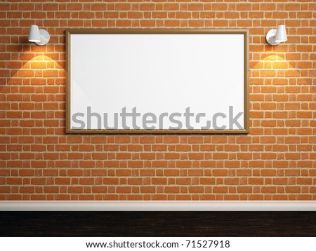 3d render of empty room with brick wall and lights