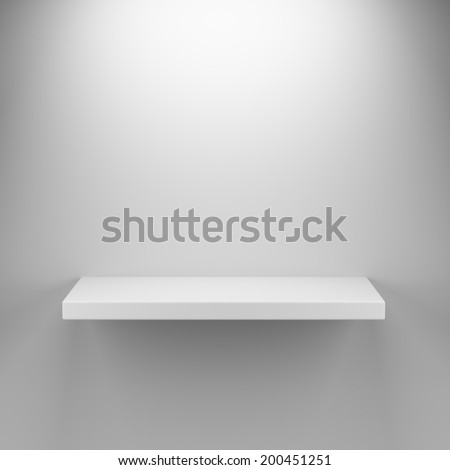 3d render of empty shelf interior with top lighting - stock photo