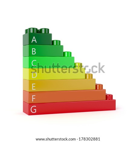 3d render of energy efficiency blocks isolated on white background. Energy efficiency concept - stock photo