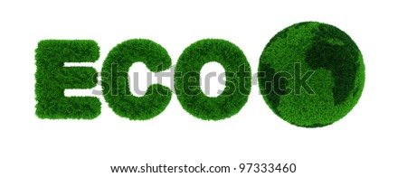 3d render of environment eco concept isolated on white background - stock photo