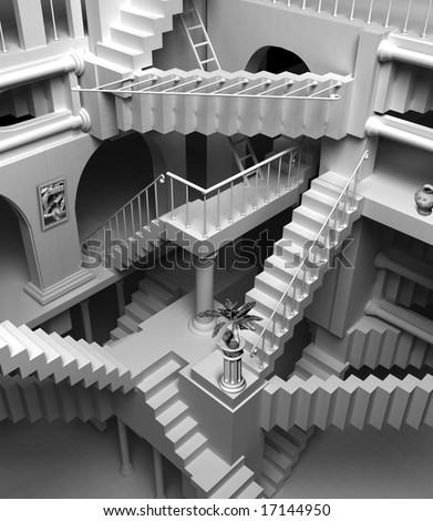 3D render of Escher's inspired stairs - stock photo