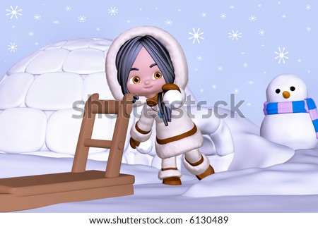 3d render of eskimo girl in winter landscape with sledge, igloo, and snowman - stock photo