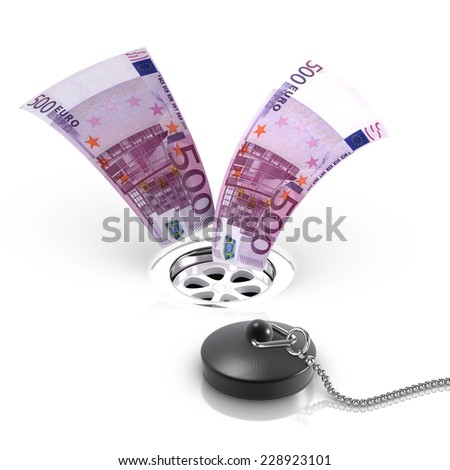 3d render of Euro bank notes flowing down a drain - stock photo