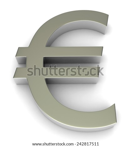 3d render of euro symbol over white background - stock photo