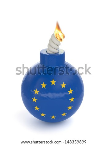 3d render of Europe bomb isolated on white background - stock photo