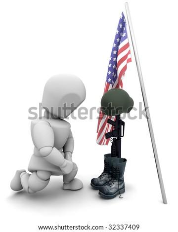 3d render of fallen soldier tribute - stock photo