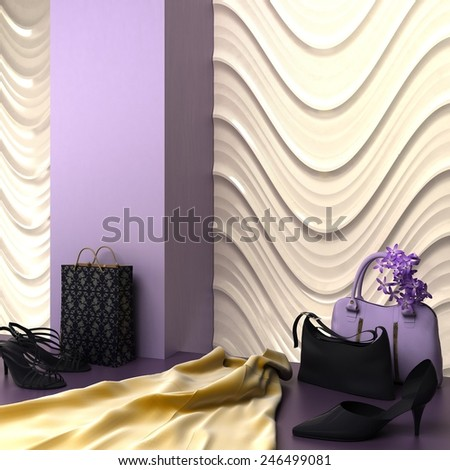 3d render of fashion store showcase with shoes, bags and dress  - stock photo