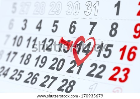 3d render of 14 february calendar pin. Valentines day concept - stock photo