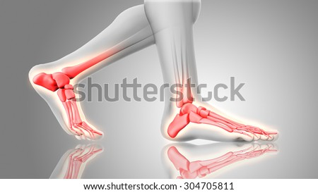 3D render of feet close up with glowing bones - stock photo