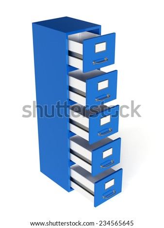 3d render of file drawer isolated on white background. Storage concept  - stock photo