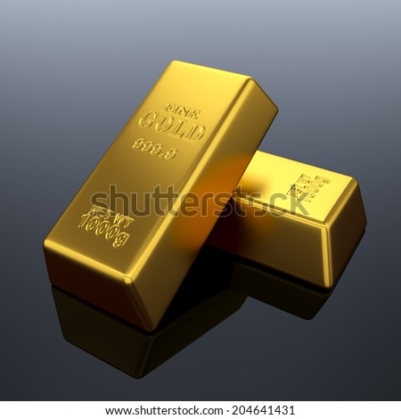 3d render of fine gold bars background. Treasure concept