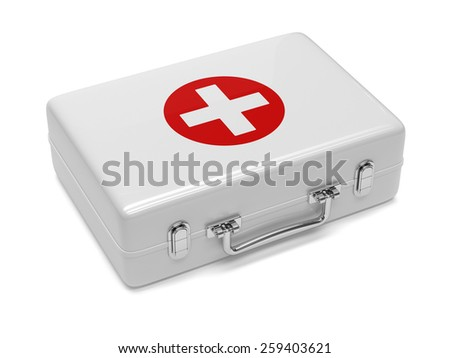 3d render of first aid kit isolated on white background - stock photo