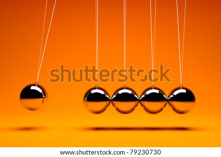 3d render of five metal  balancing balls - stock photo