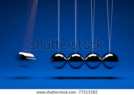 3d render of five swing balls - stock photo