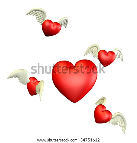 3d  render of flying hearts than illustration - stock photo