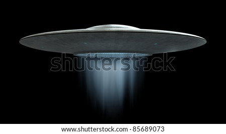 3d render of flying saucers - stock photo