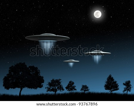3d render of flying saucers UFO on night background - stock photo