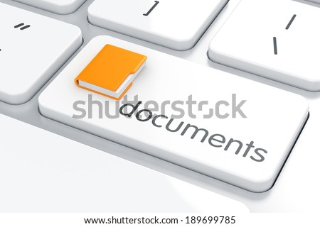 3d render of folder on the computer keyboard. Documents concept  - stock photo