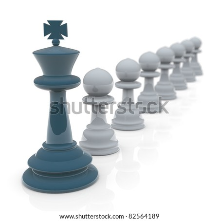 3d render of following leader concept - stock photo