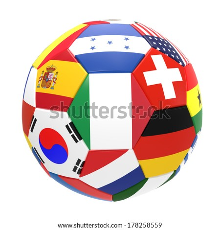 3D render of football and flags representing all countries participating in football world cup in Brazil in 2014  - stock photo