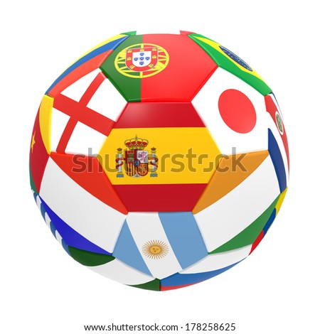 3D render of football flags representing all countries participating in football world cup in Brazil in 2014 - stock photo