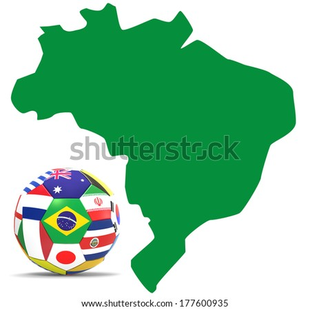3D render of football with flags of participating countries on 2014 FIFA world cup next to map of Brazil on white background. - stock photo
